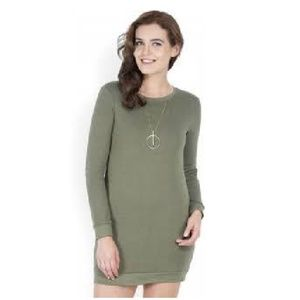 Forever 21 Sweater Dress Olive Green Sz.Sm